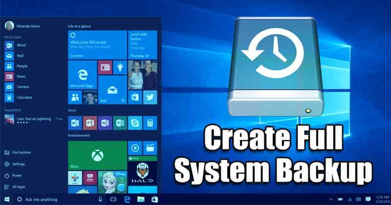 Cómo crear una copia de seguridad del sistema completo de su PC con Windows 10