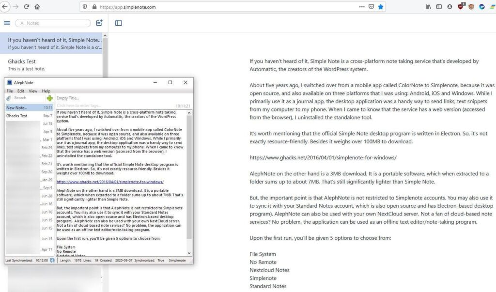 AlephNote is a lightweight client for Simplenote, Standard Notes and also works as an offline note-taking program
