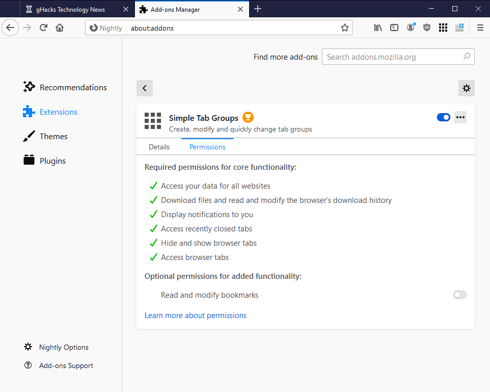 Firefox to get option to manage optional extension permissions on about:addons