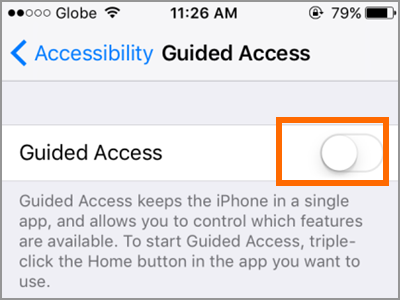How to enable guided access