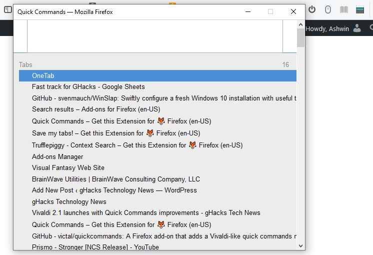 Quick Commands is a Firefox extension that works similar to Vivaldi