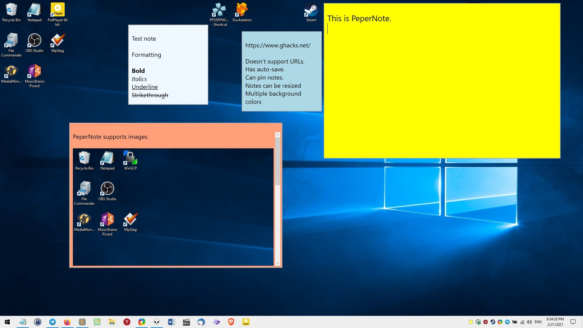 PeperNote is a simple sticky notes application for Windows