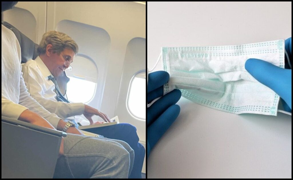John kerry without mask american airlines flight