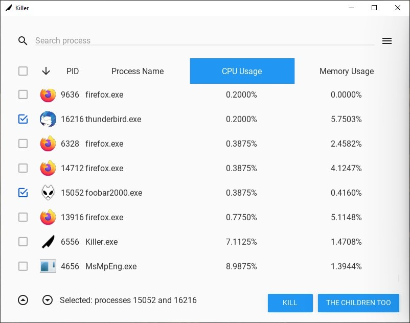 Killer is an open source Task Manager that lets you end several tasks at once