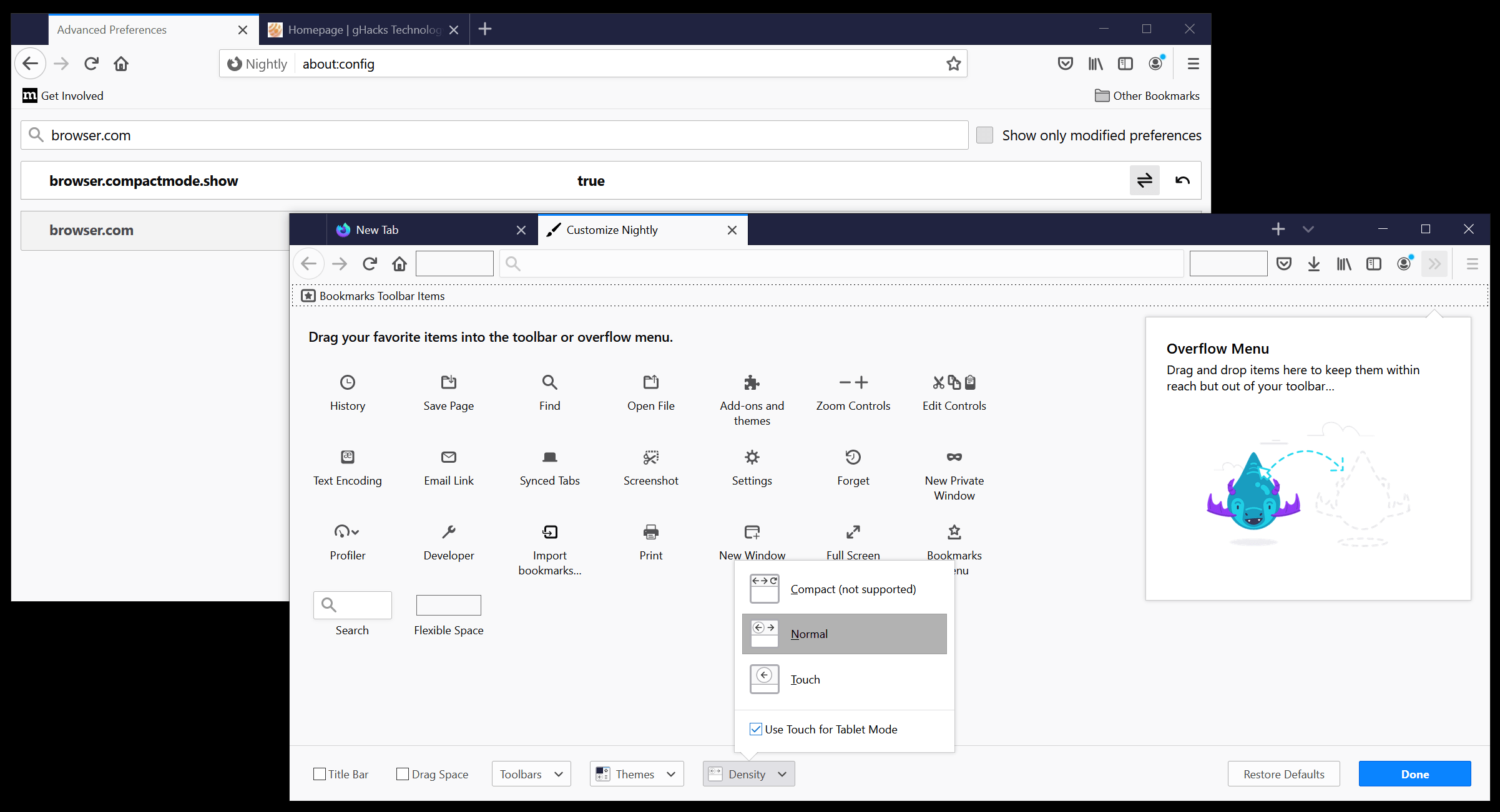 firefox browser-compactmode show disabled