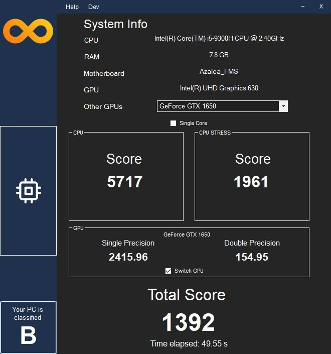 InfinityBench interface