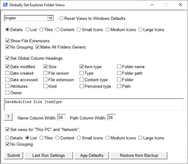Set a view as the default one for all folders in Explorer using WinSetView