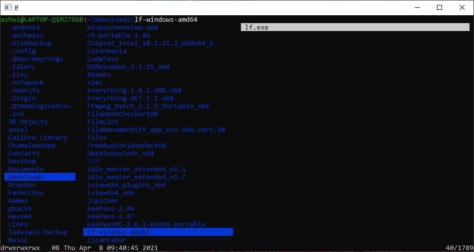 LF is a terminal file manager inspired by Ranger, with Vim-like shortcuts