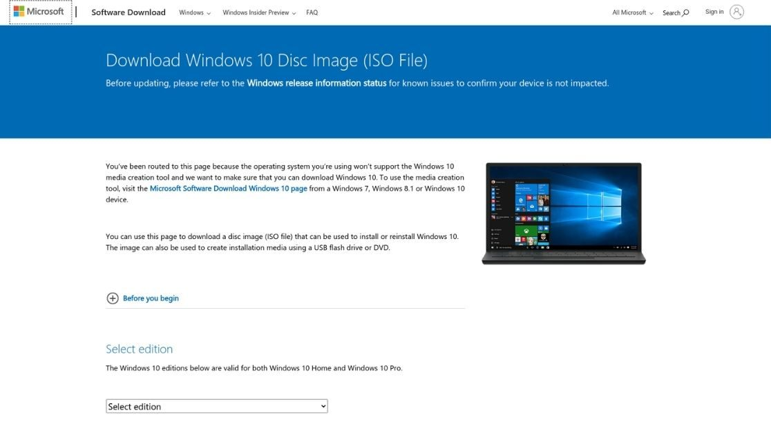 página de descarga de windows 10